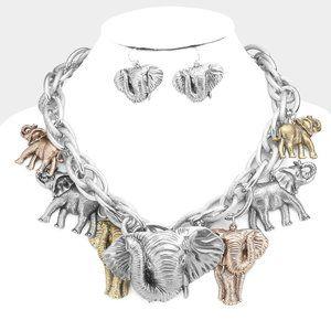 Elephant Charm Necklace & Earrings SET